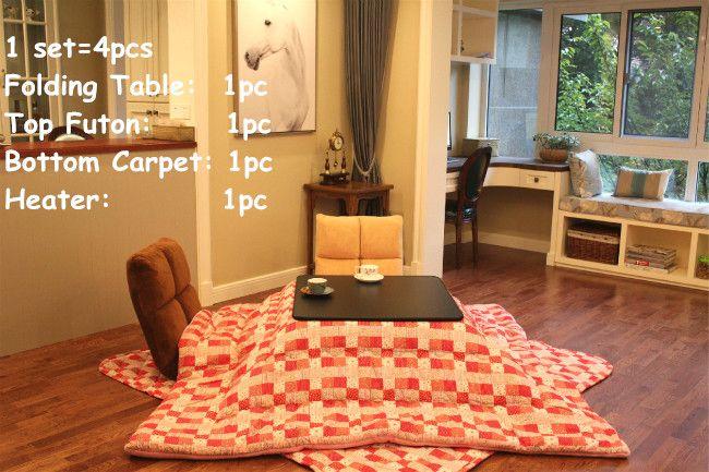 (4 teile/satz) Tischbeine Foldabe Japanischen Kotatsu Set Tisch Futon Heizung Wohnzimmer Möbel Reversible Top Erhitzt Tisch Folding
