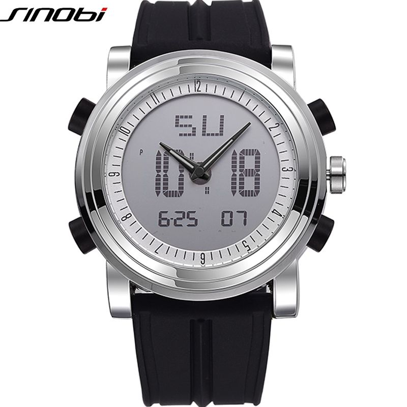 SINOBI Sport Watches for Men <font><b>Silicone</b></font> Strap Brand Digital Watch 2019 noctilucous Waterproof Luxury Watch Men Relogios Masculinos