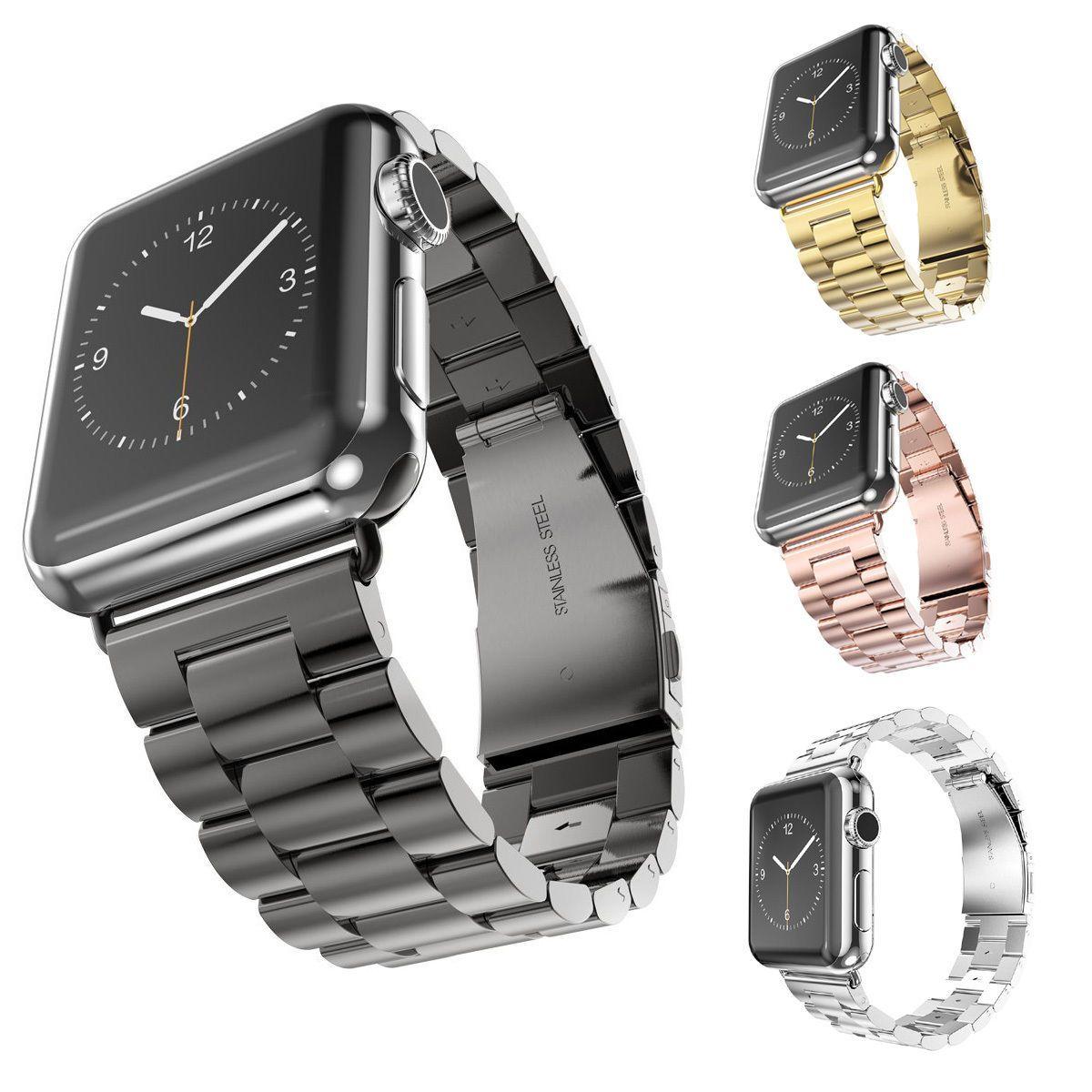 3 perles Bracelet de montre en acier inoxydable pour iWatch 4 3 2 1 Bracelet pour Apple Bracelet de montre 40mm 44mm 38mm 42mm Bracelet de remplacement