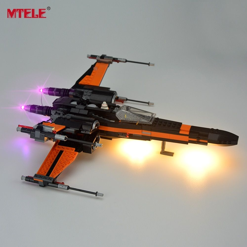 MTELE Brand LED Light Up Kit For <font><b>Blocks</b></font> Star Wars Poe's X-Wing Fighter Building <font><b>Block</b></font> Light Set Compatible With Lego 75102