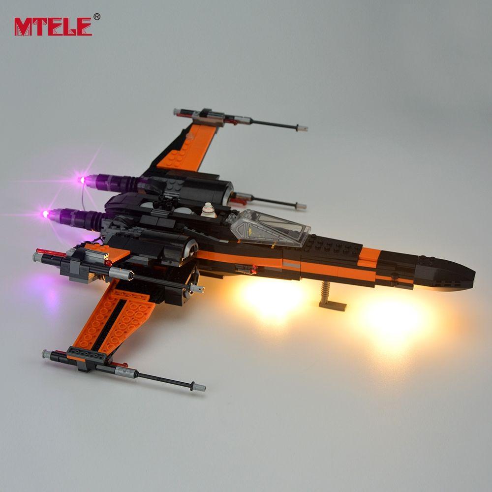 MTELE Marque LED Allument Kit Pour Blocs Star Wars Poe Chasseur X-wing Bloc De Construction Jeu de Lumière compatible Avec Lego 75102