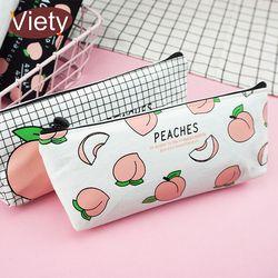 Новый холст фрукты персик пенал школьные пеналы для девочек канцелярские рулон карандашей сумка estojo Эсколар школьные принадлежности