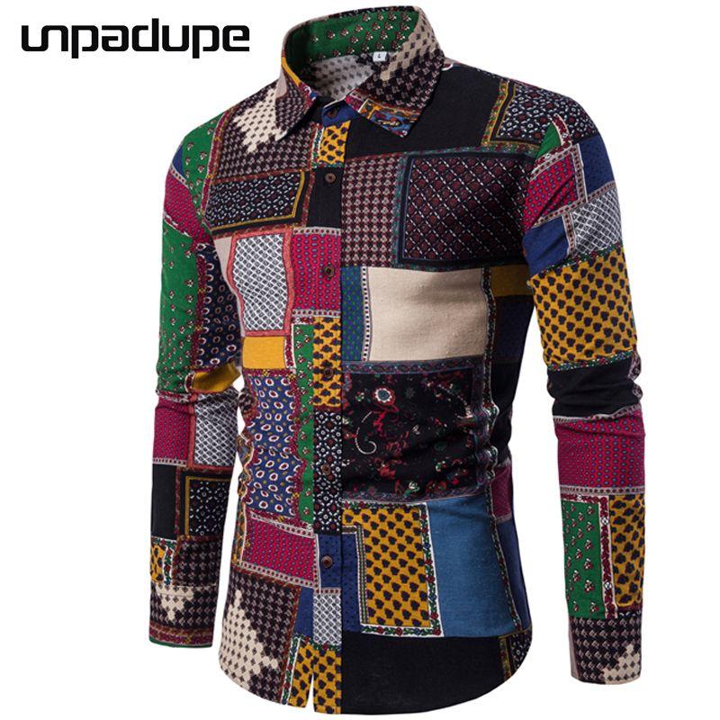 Marque Unpadupe-vêtements 2018 mode chemise homme lin robe chemises Slim Fit Turn-Down hommes à manches longues hommes hawaïen chemise grand