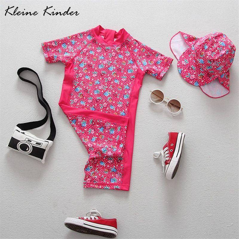 Mädchen Bademode Floral Print Kurzarm Ein Stück Badeanzug mit Sonne Kappe Badeanzüge für Mädchen Strand Baby Rash Guard Bade anzug