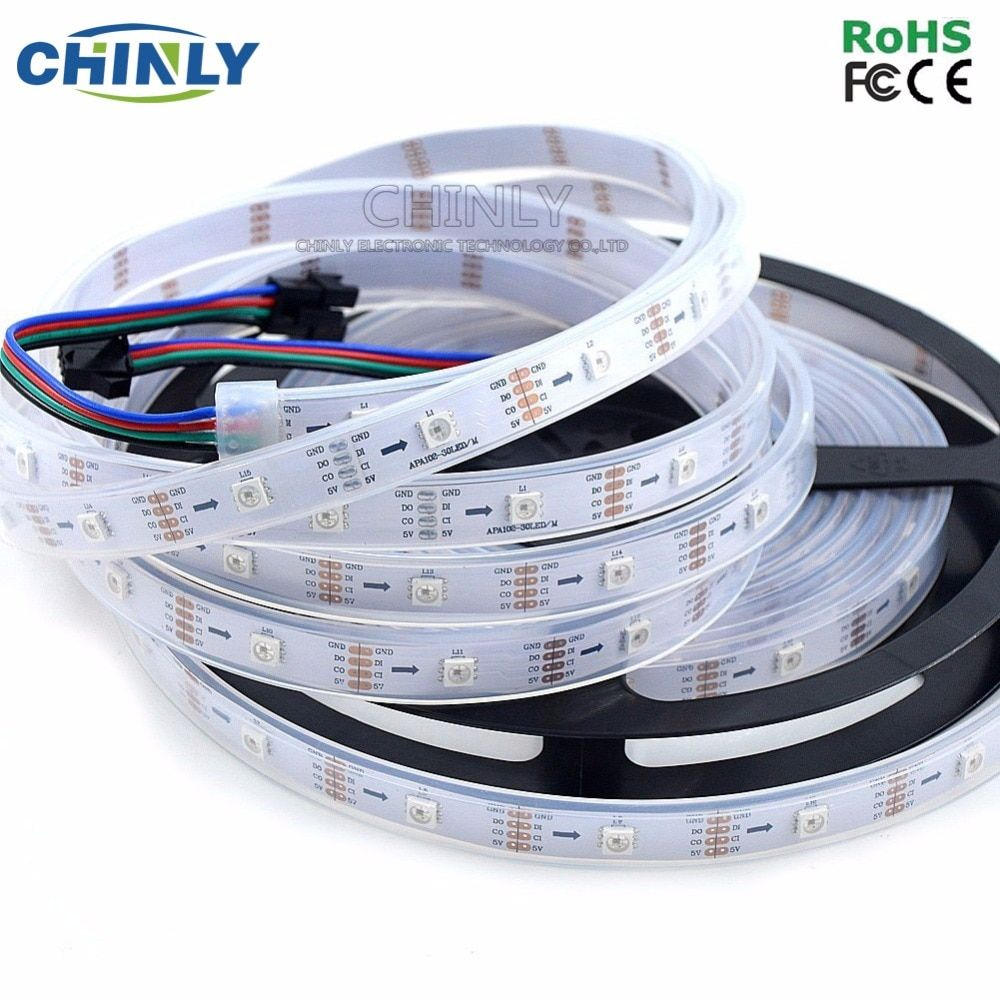 1m/5m APA102 Smart LED <font><b>Pixel</b></font> Strip, 30/60/144 LEDs/<font><b>Pixels</b></font>/m ,IP30/IP65/IP67 DATA and CLOCK Seperately DC5V