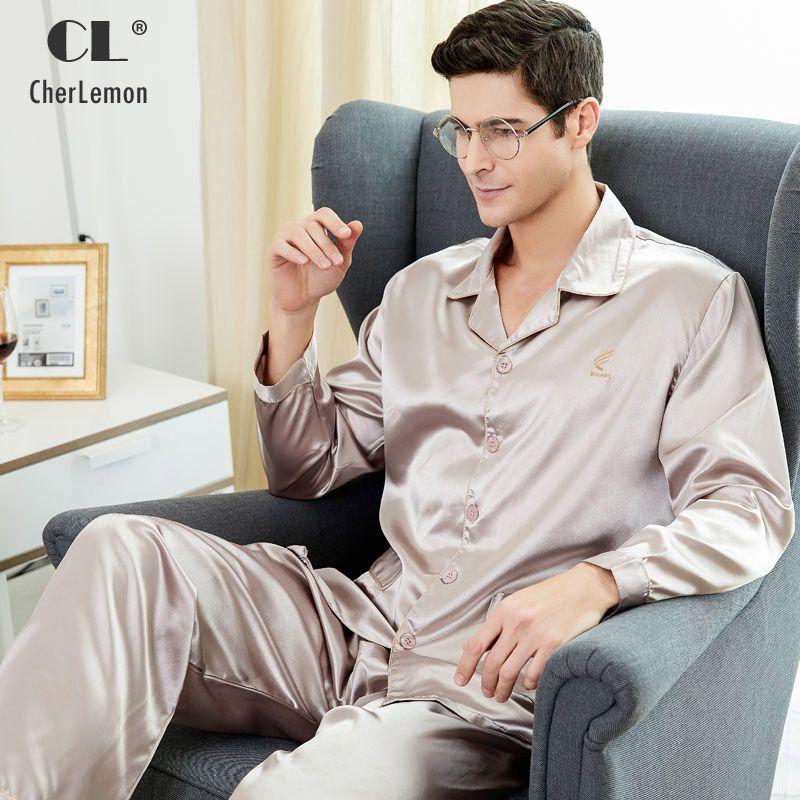 Cherlemon Высокое качество шелк Для мужчин пижамы с длинными рукавами из шелкового атласа Ночное Мягкая Демисезонный пижамы плюс Размеры M-4XL
