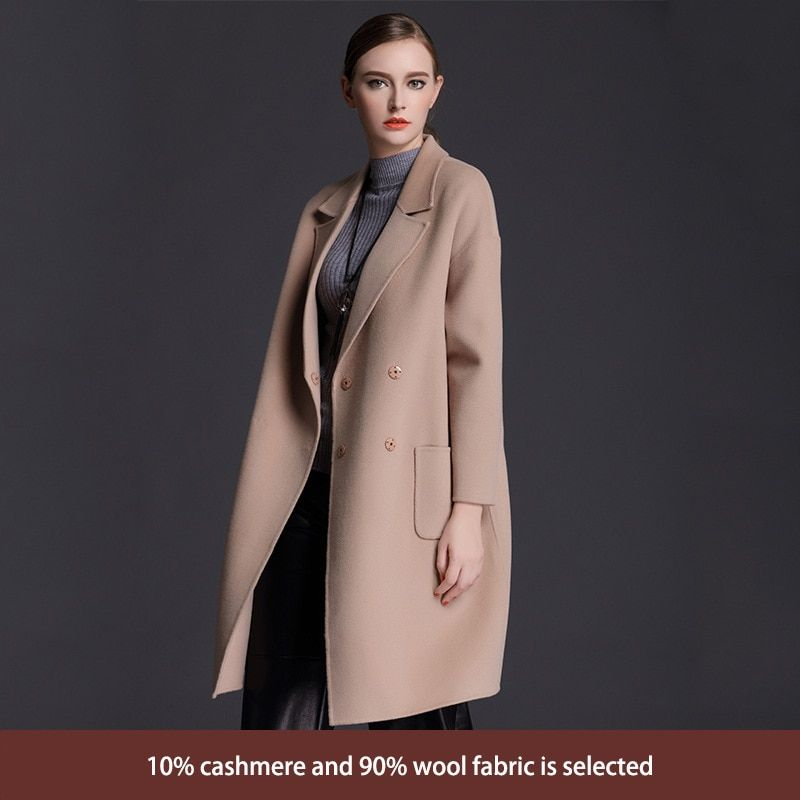 2017 new winter coat women double breasted cashmere coat loose in the long section of high-end female Korean woolen jacket
