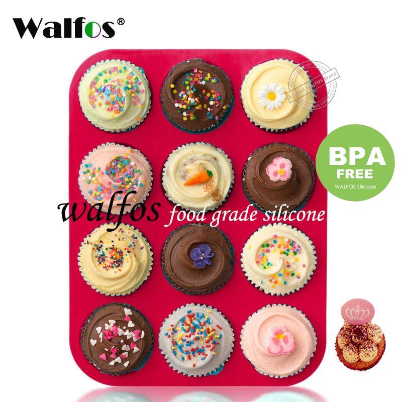 Moule à muffins et Cupcake en Silicone Walfos 100% de qualité alimentaire 12 tasses moule à gâteau en silicone antiadhésif forme ronde Mini moule à muffins