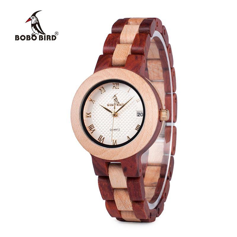 Luxury Brand BOBO BIRD Watches Full Wooden Women Wristwatch Casual Calendar Quartz-watch relogio feminino J-M19