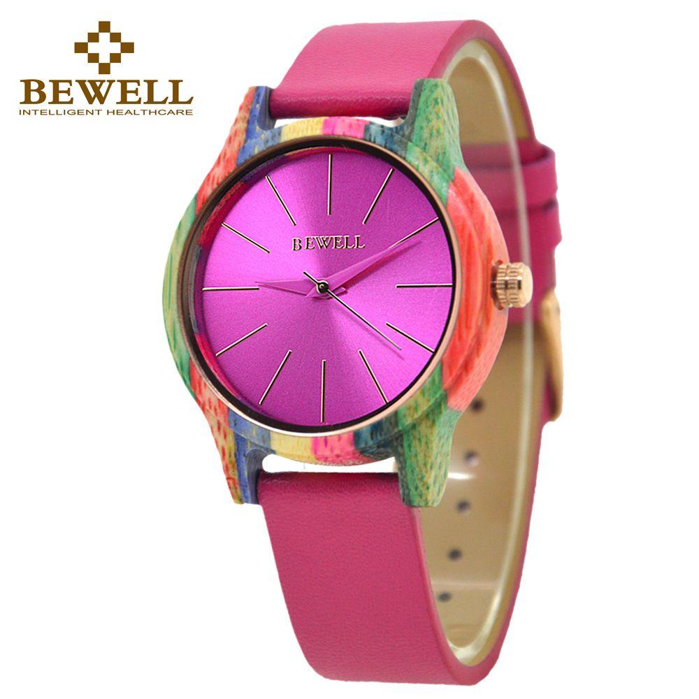 BEWELL W139A Correa de Cuero Colorida de la Caja De Madera De Bambú De Madera de Moda Reloj de Las Mujeres de Moda Reloj de Cuarzo Analógico Reloj de Pulsera Dial Roun