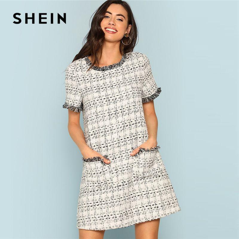 SHEIN Grey Plaid Frayed Edge Button Detail Tweed Dress Elegant Frill Straight Short Dresses Women Autumn Workwear Mini Dress