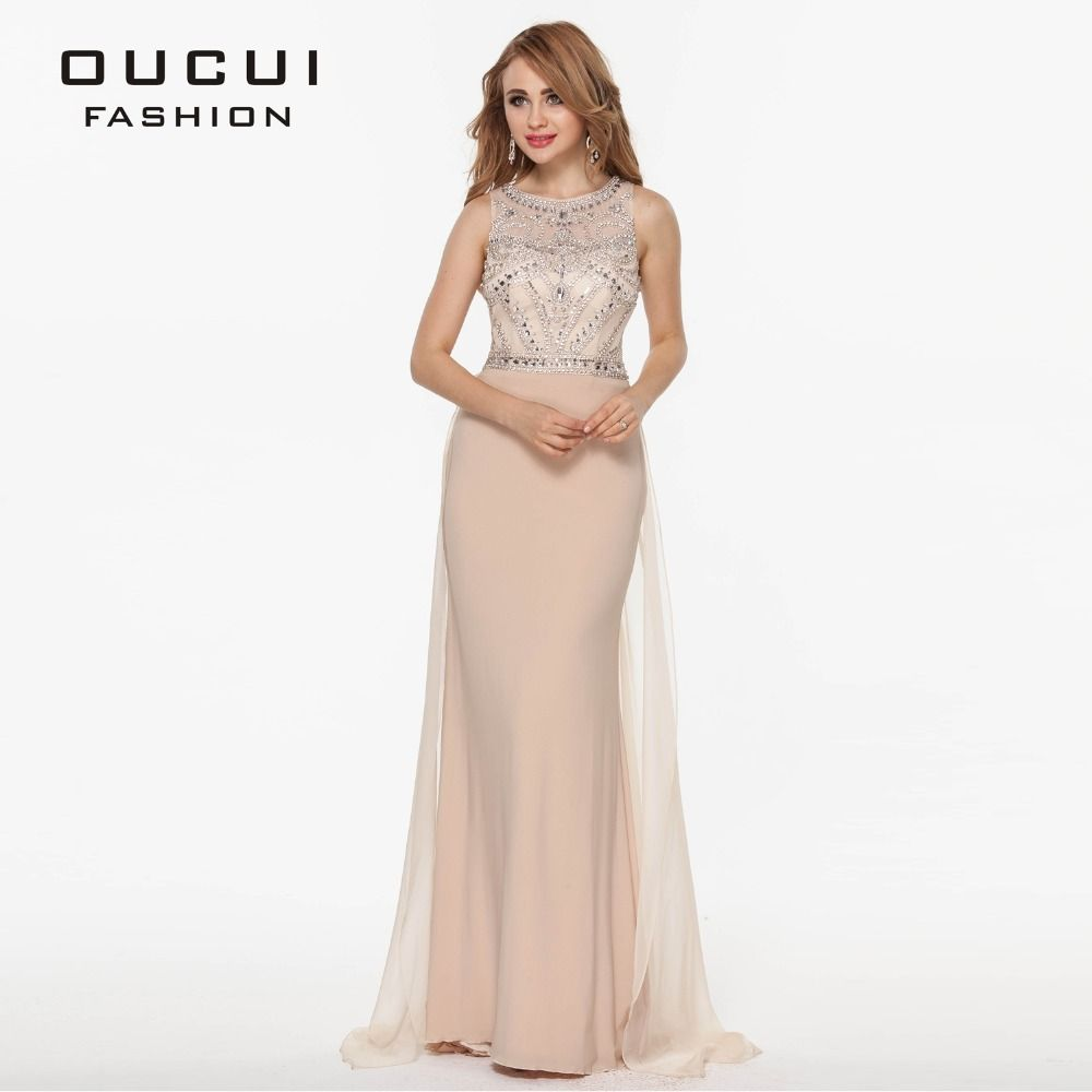 Real Photo Nude Color Tulle Jersey Chiffon See Through Back Beading Handwork Evening Dresses OL102345