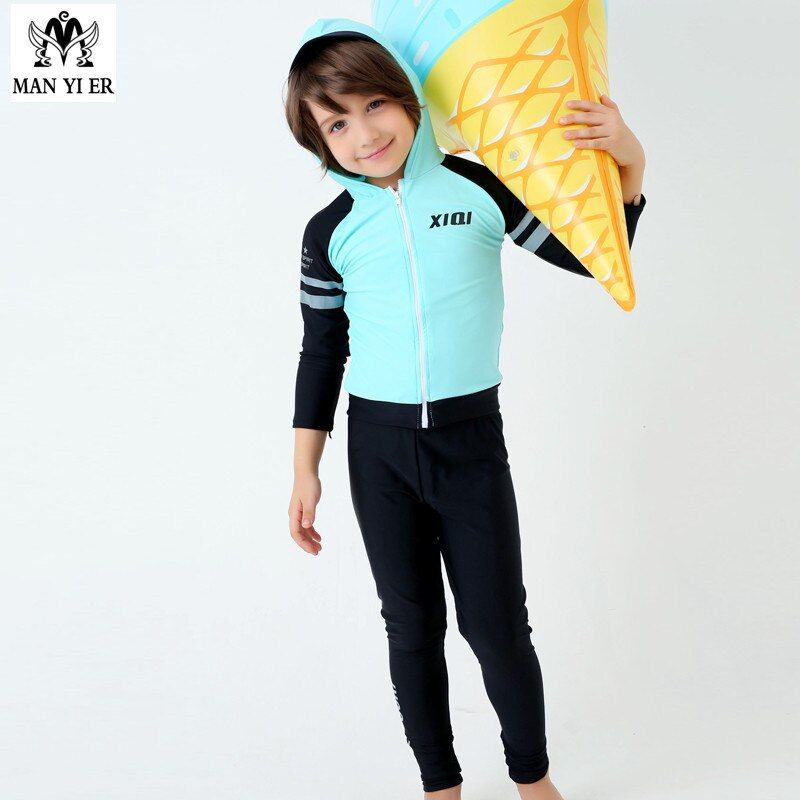 2017 Hot Sell solid Boys Swimsuit  Child Surf Long Sleeves shirts+pants Kids Swimwear Bathing Suits Swim Suit