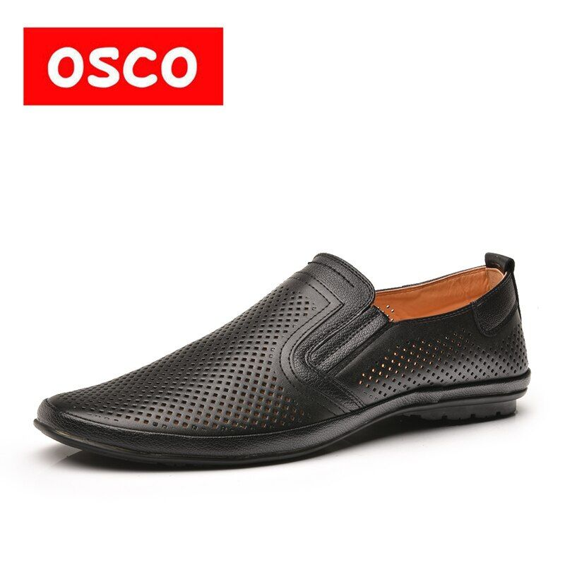 OSCO Hollow Driving Lazy Shoes Loafers Fashion Men Shoes Leather Peas Shoes Summer Breathable Business Casual Boat Shoes Sandal