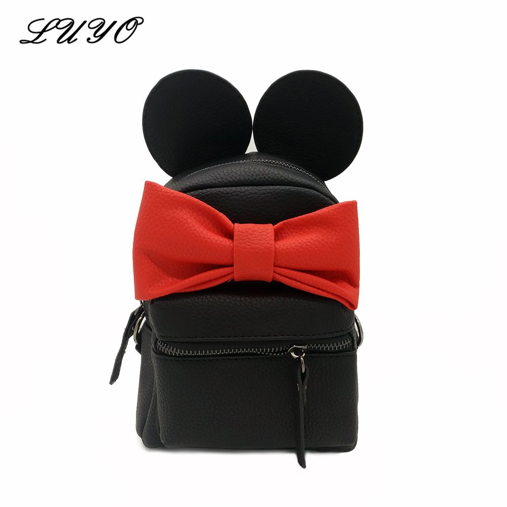 New Cute Mini Small Cat Backpack Leather Backpacks Bags For Teenage Girls Minnie Mouse Women Mickey Sweet Bow Female Kids Kawaii