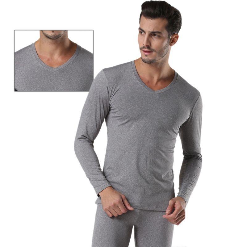 Winter Warm Men 2Pcs Cotton V neck Thermal Underwear Set Thicken Long Sleeve Tops Bottom Navy Blue, Dark Gray, Light Gray YRD