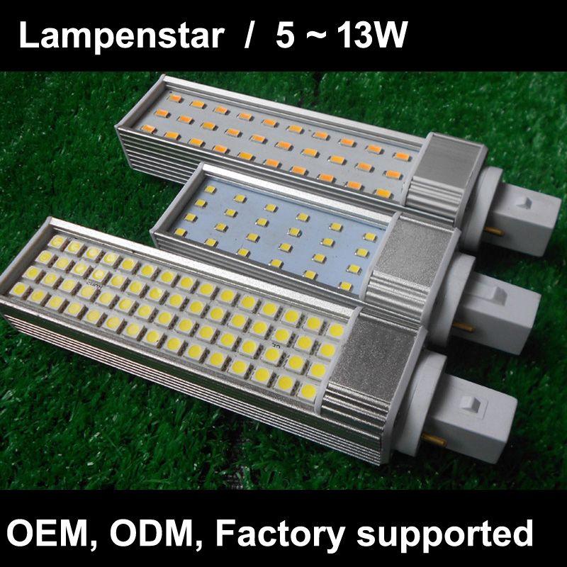 G24 led ampoule G24d3 G24d-2 G24d-1 Blanco Calido Lampara Bombilla PL SMD5730 2835 5050 led puissance réelle ac110V/ ac220V 85-265 v