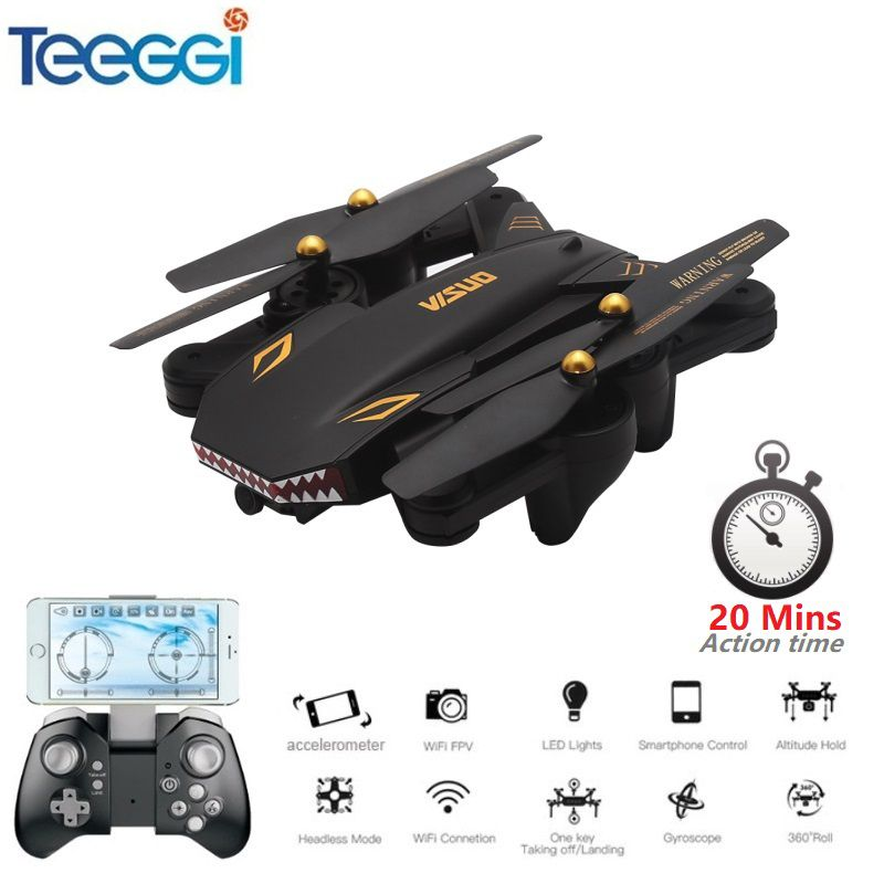 Teeggi VISUO XS809S (XS809HW Upgraded) Foldable RC Drone with 720P Wide Angle HD Camera FPV Quadcopter Helicopter Mini Dron