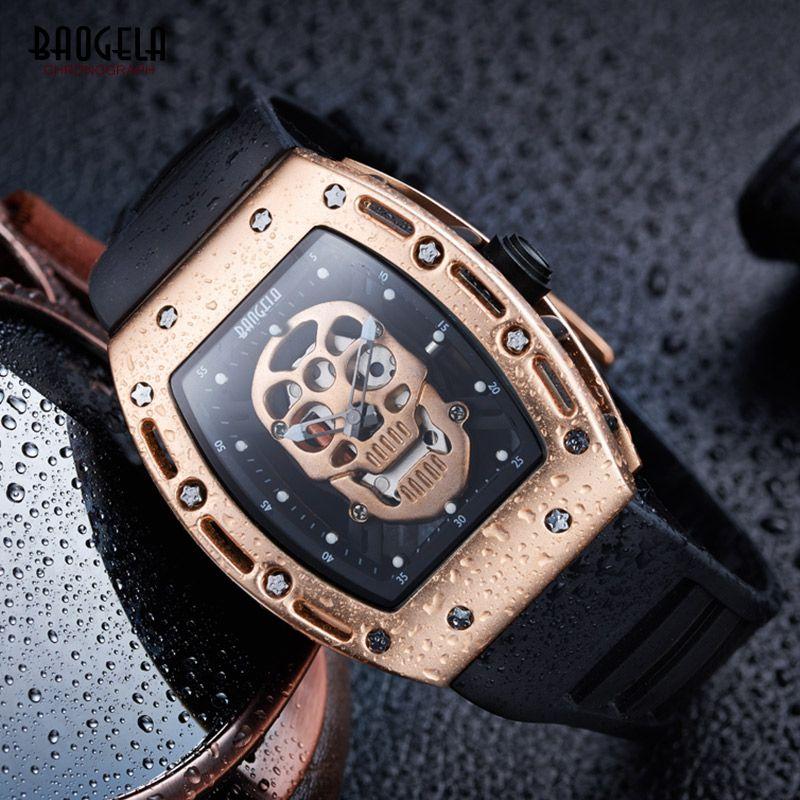 Baogela 2017 New Arrival Pirate Skull Style Quartz Men Watches Military Silicone Brand Sports Watch Waterproof Relogio Masculino