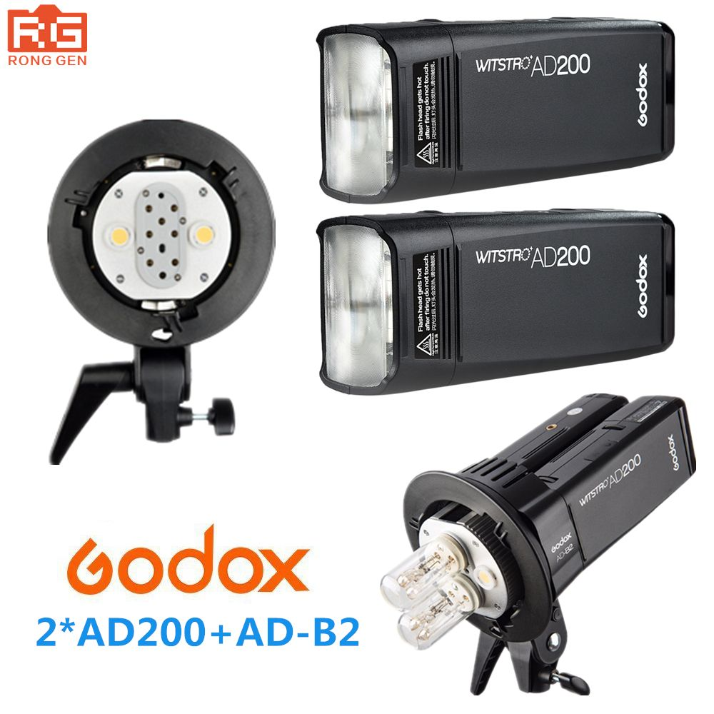 Godox AD200 High Speed TTL Built-in 2.4G Wireless Outdoor shooting SLR flash Pocket lights + AD-B2 for Canon Nikon Fuji Camera