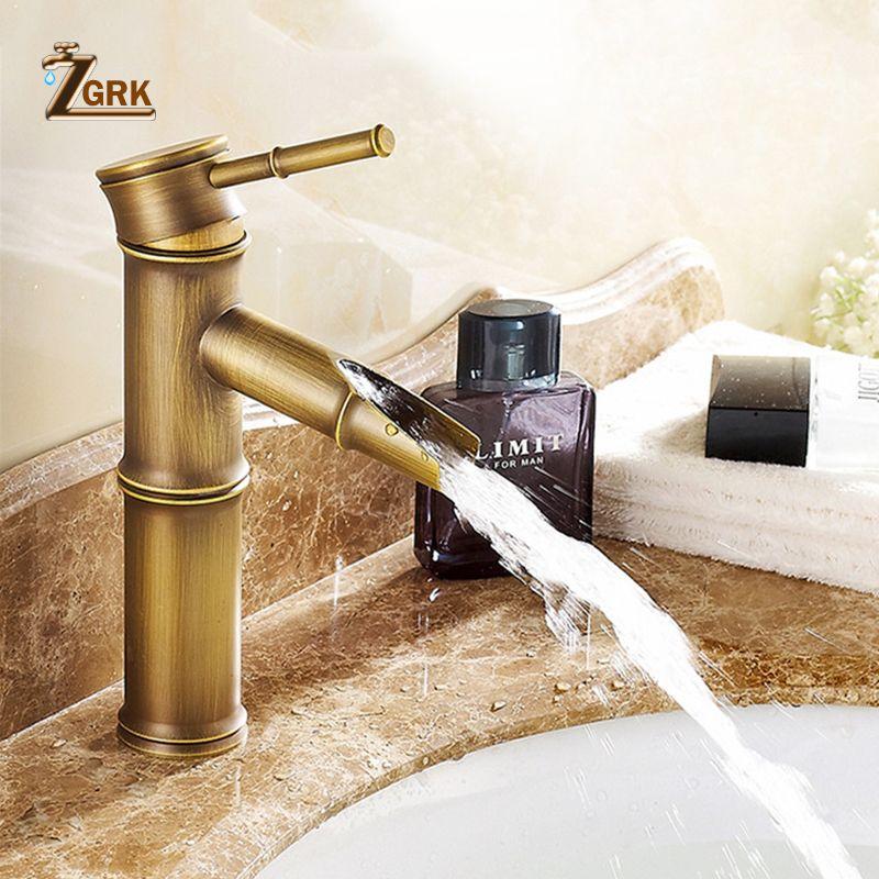 ZGRK robinet de salle de bain en laiton robinets de bassin robinet de luxe grand bambou eau chaude froide avec deux tuyaux cuisine extérieure jardin WC robinets