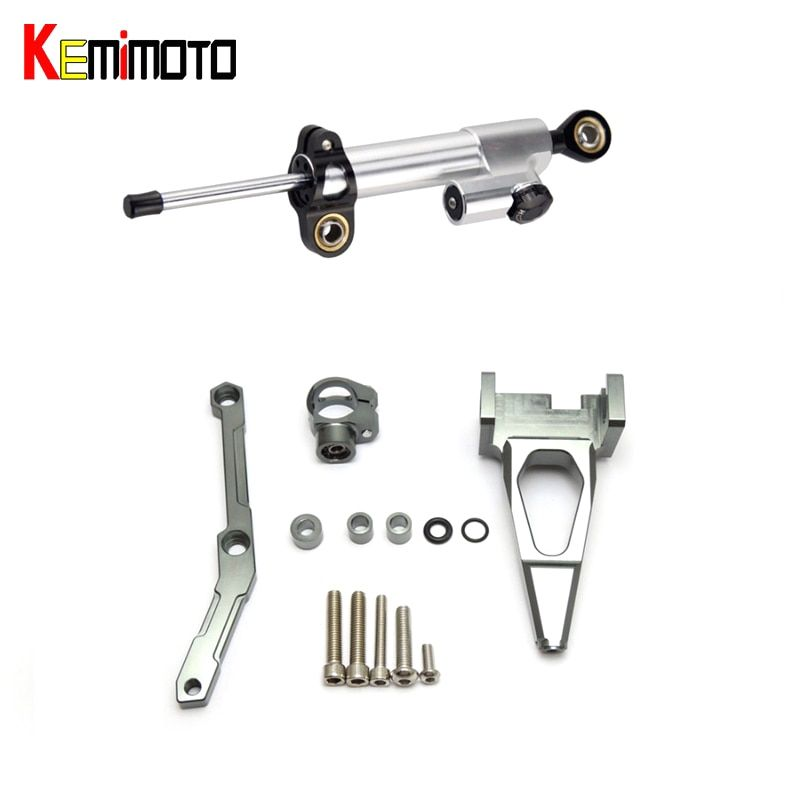 KEMiMOTO For YAMAHA MT-09 FZ-09 MT 09 MT09 FZ09 Motorcycle Accessories Steering Damper With Bracket 2013 2014 2015 2016 2017