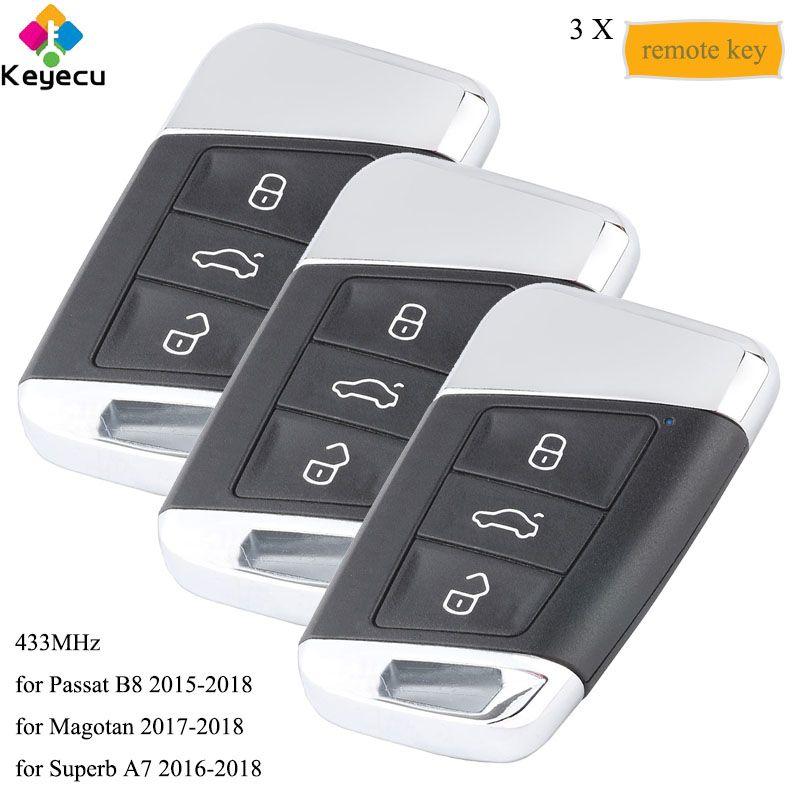 KEYECU 3 teile/los Smart Remote Key Mit 3 Tasten & 434 MHz-FOB für Volkswagen Magotan Superb A7 Passat b8 2015 2016 2017 2018