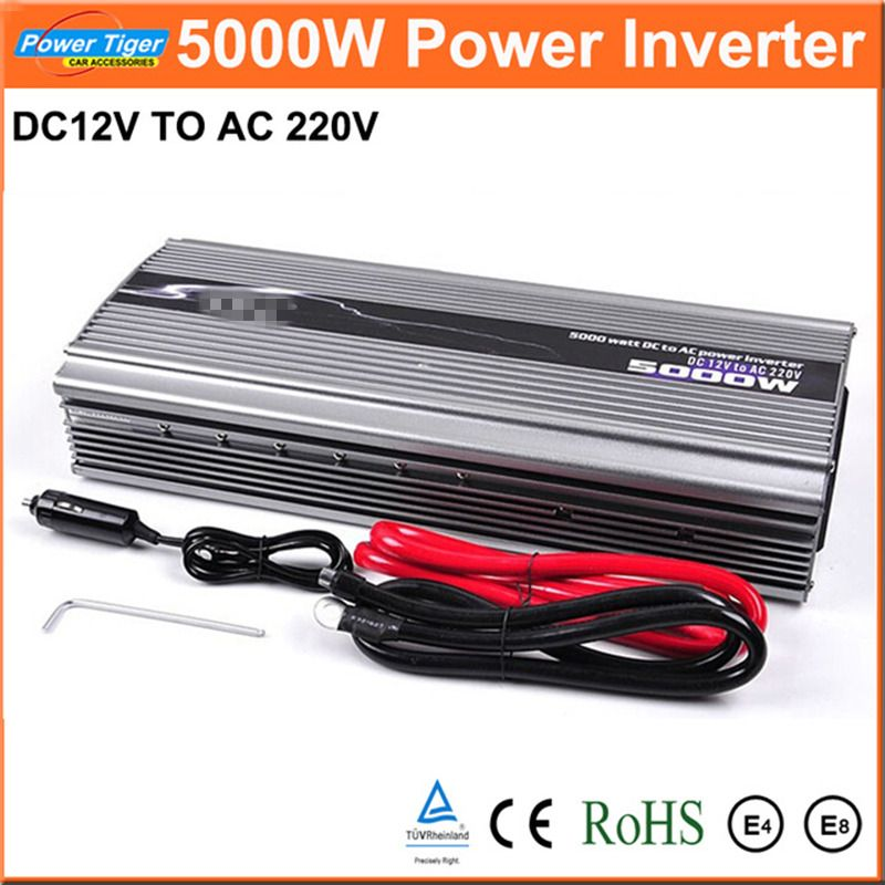 New 1pcs Car Power Inverter DC12V to AC220V Inverter 5000W Modified Sine Wave Car Power Converter Inverter Peak Power 10000W