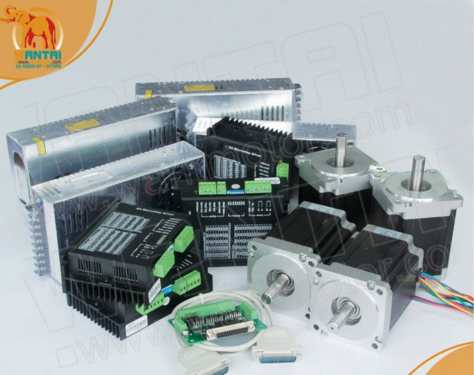 Hot Sell! wantmotor 4 Axis Nema 34 Stepper Motor 85BYGH450C-012B Dual Shaft 1600oz-in+Driver DQ860MA 7.8A 80V 256Micro CNC
