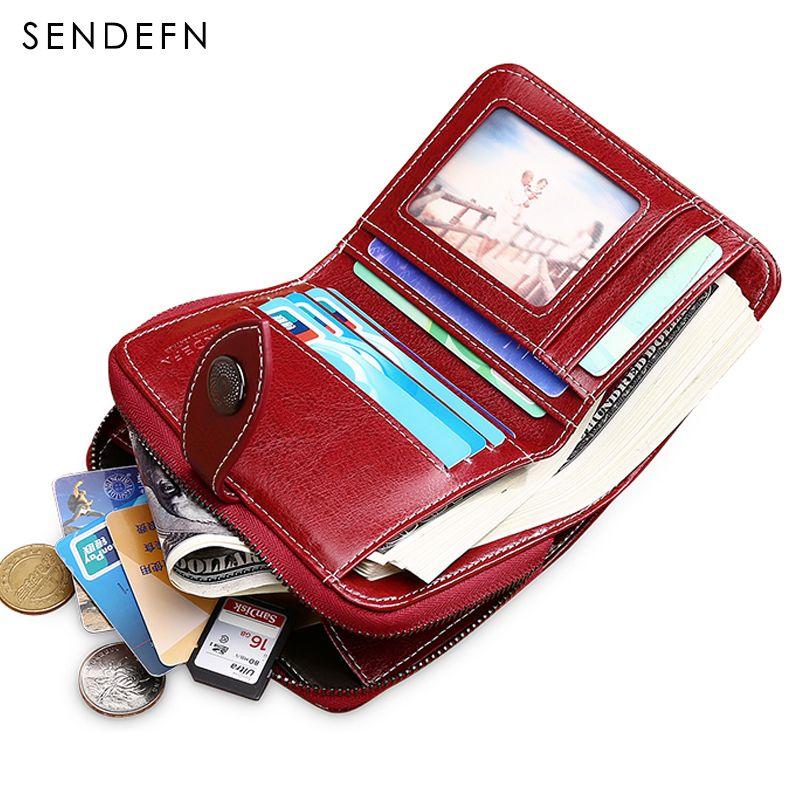 SENDEFN 2018 New Wallet Women Purse Brand Coin Purse Zipper Wallet Female Short Wallet Women Split Leather Purse Small Purse