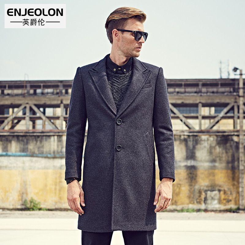 Enjeolon marke männer casual X-Wolle & Mischung jacke Männlichen einreiher woolen mäntel outwear Windbreaker kostenloser schiff WT0811