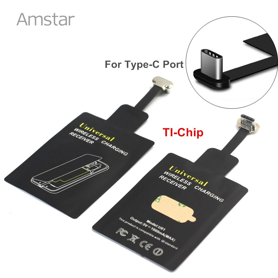 Amstar Qi Wireless Charger Receiver Type-C Port Wireless Charging Coils for LG G5 Nexus 6P Lumia 950 HUAWEI P10 P9 Mate9