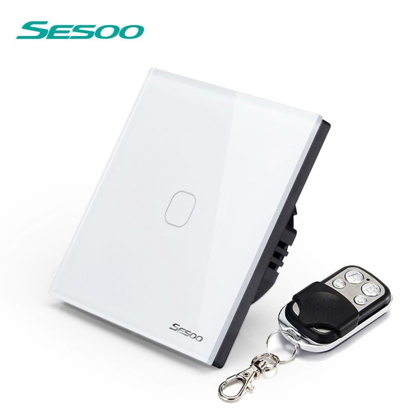 SESOO Remote Control Touch Switch SY2 AC170-22OV EU Standard 86*86MM Crystal Glass Panel Sensor Wall Light  Switch