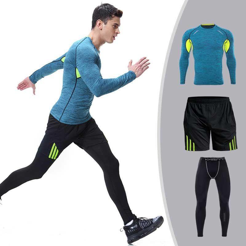 3 stück Männer Quick Dry Kompression Lange Unterhosen Fitness Gymming Männlichen Winter Sporting Läuft Workout Thermische Unterwäsche Sets S106
