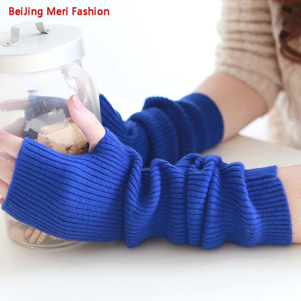 Women's Winter&Autumn&Spring Christmas Arm Glove Cashmere Blend Knitted Long Gloves Solid Color Fashion Warm Lady Elbow Mittens