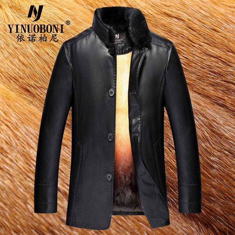 Echtes Leder Jacke Männer Kleidung Winter Warme Herren Leder Jacke Langen Abschnitt Jacke Herren Nerz Mantel Blouson Cuir Homme LJ8906