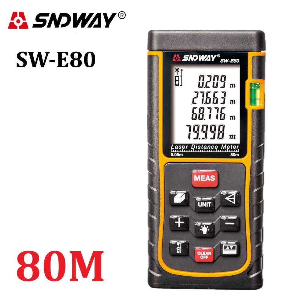 SNDWAY 80M 262ft handheld Laser distance meter trena Laser Range finder RangefinderTape measure SW-E80 Area-volume tool <font><b>hunting</b></font>