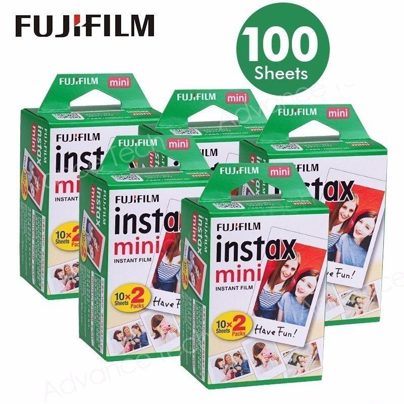 100 Sheets Fujifilm Instax Mini 8 film for Fuji 7s 9 70 25 50s 90 Instant Photo Camera White FilmShare SP-1 SP-2