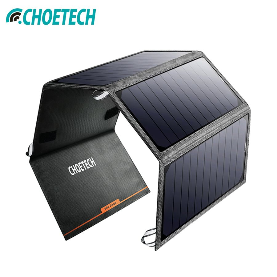 CHOETECH Solar Panel Charger China 24W Solar cell Charger for iPhone USB Port Portable battery Char for Xiao mi Samsung Huawei
