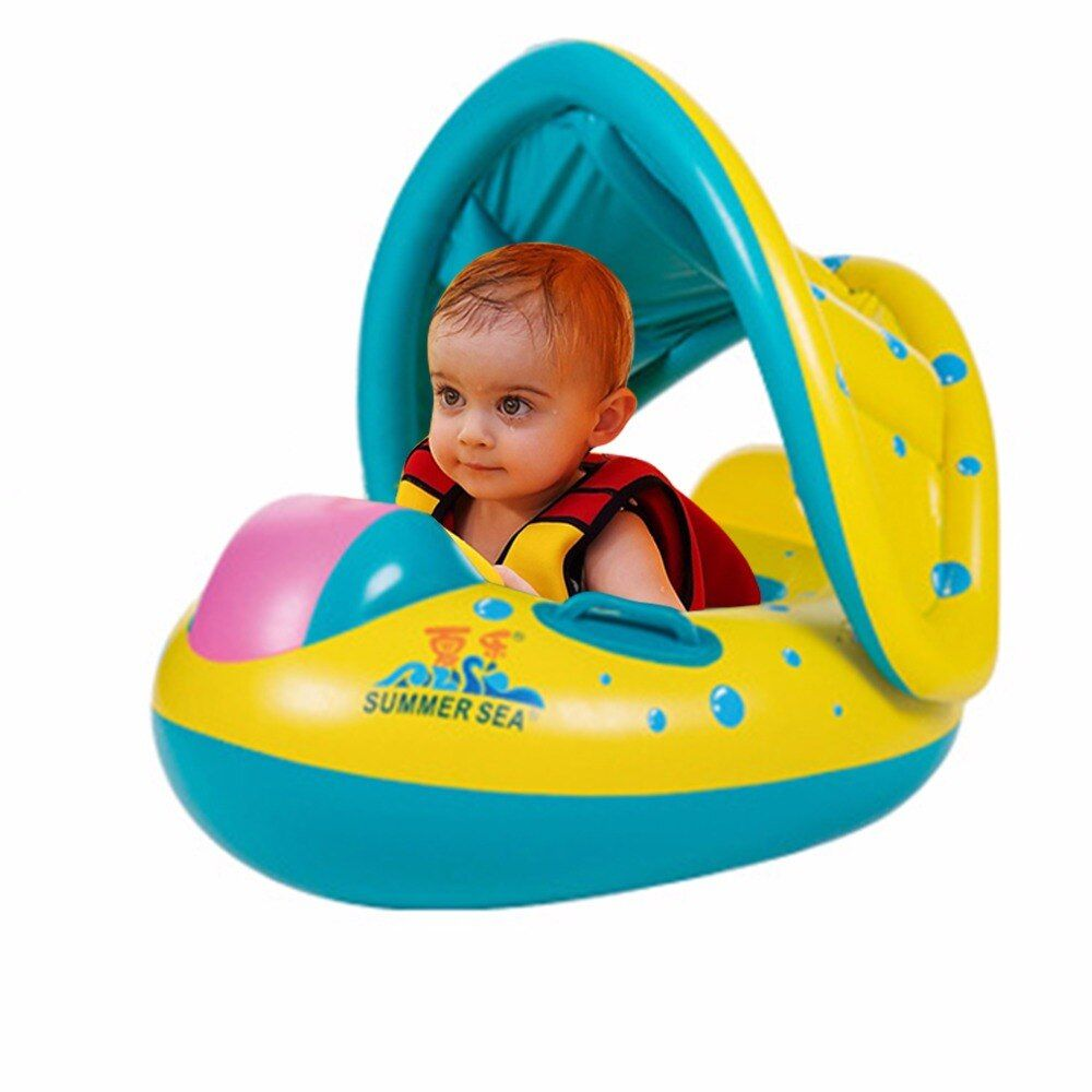 Baby Kids Swimming Ring Portable Summer Safety Inflatable Adjustable Sunshade Float Water Seat Boat Ring Swim Pool Water Sport
