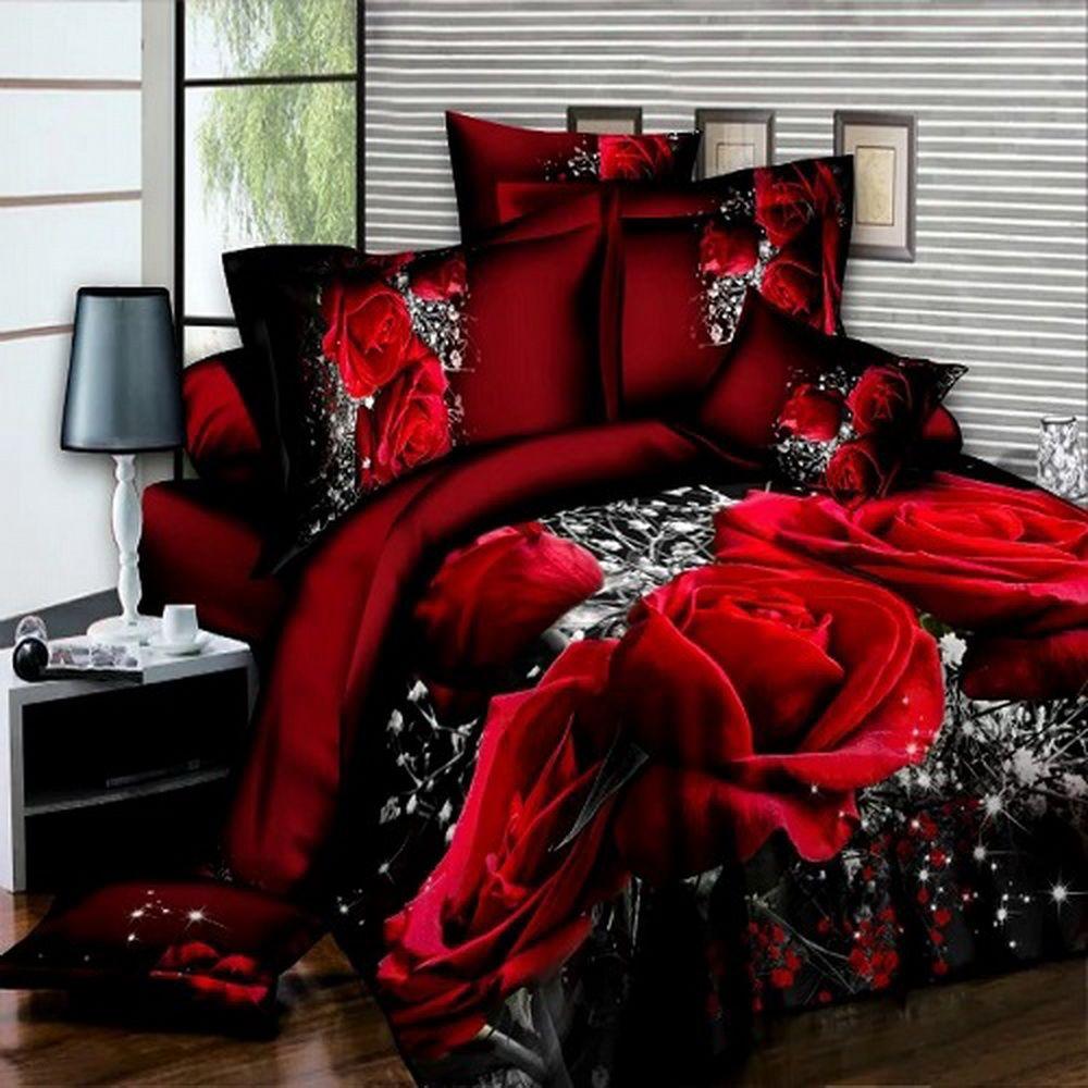 Home Textiles 3D Bedding Sets Leopard Grain Rose Panther Queen 4 Pcs Duvet Cover Bed Sheet Pillowcase Bedclothes