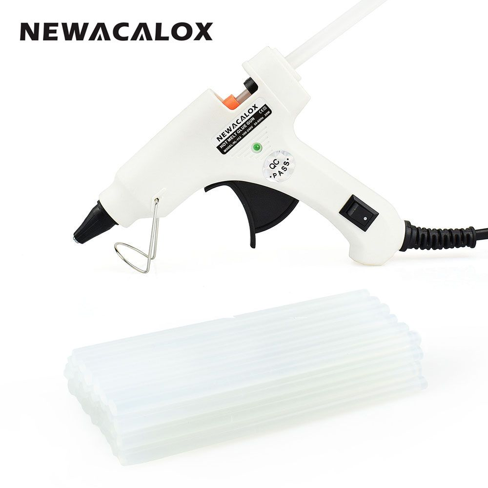 NEWACALOX 20W EU/US Hot Melt Glue Gun with Free 20pc 7mm Glue Stick Industrial Mini Guns Thermo Electric Heat Temperature Tool