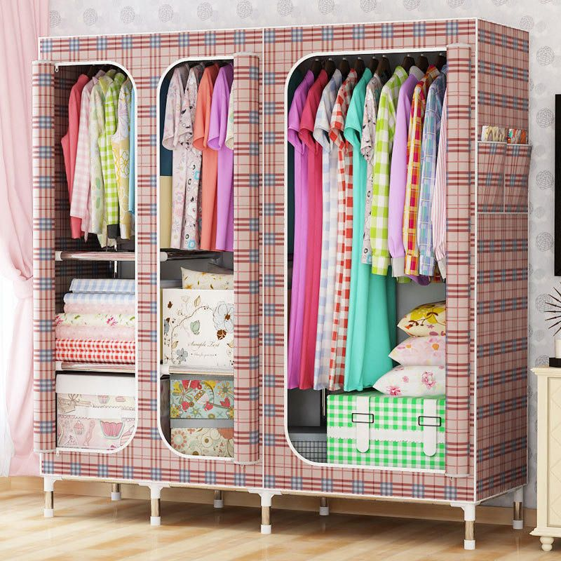 Oxford cloth steel frame large wardrobe sell well Wardrobe Large Simple Home Steel Clothes Storage