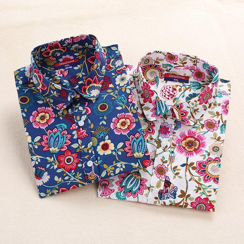 2019 femmes florales Blouses à manches longues chemise coton femmes chemises cerise décontracté dames hauts imprimé Animal Blouse grande taille 5XL