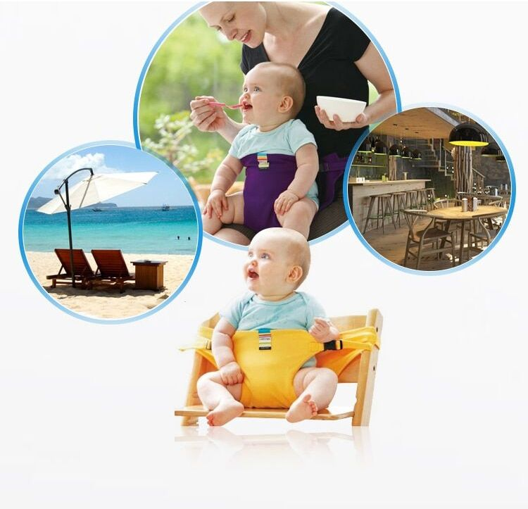 Baby stretch wrap safety belt harness baby carrier portable infant seat lunch dinning chair cover bebe seguridad