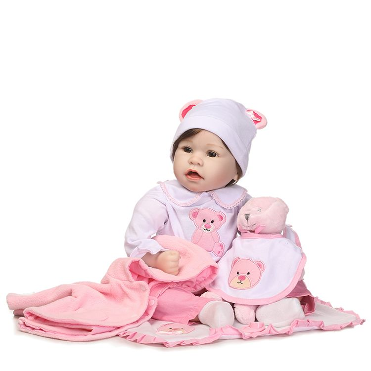 55cm Silicone Reborn Baby Doll Toys With Bear Pacifier Luxury Accessories Princess Dolls Lovely Birthday Gift Girls Brinquedos