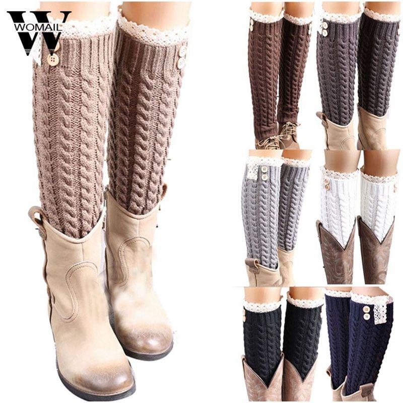 WOMAIL delicate Big Sale Women's Winter Warm Soft Lace Knitted Leg Warmers Boot Socks W7