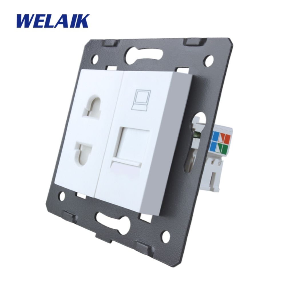 WELAIK EU Standard 2-hole multi-function socket and computer Socket DIY Parts White parts Without Glass Panel A8TSCOW
