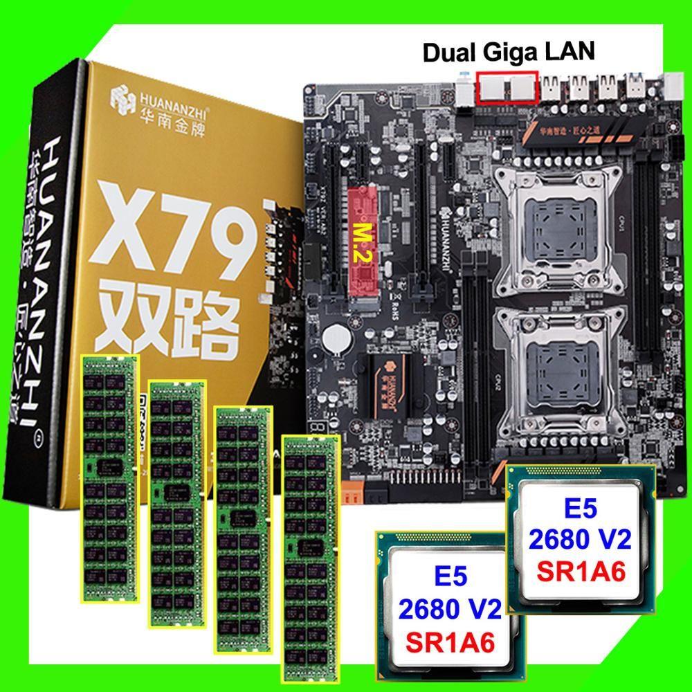 PC DIY HUANAN ZHI dual X79 motherboard mit M.2 slot rabatt motherboard mit dual CPU Intel Xeon E5 2680 V2 RAM 64G (4*16G)