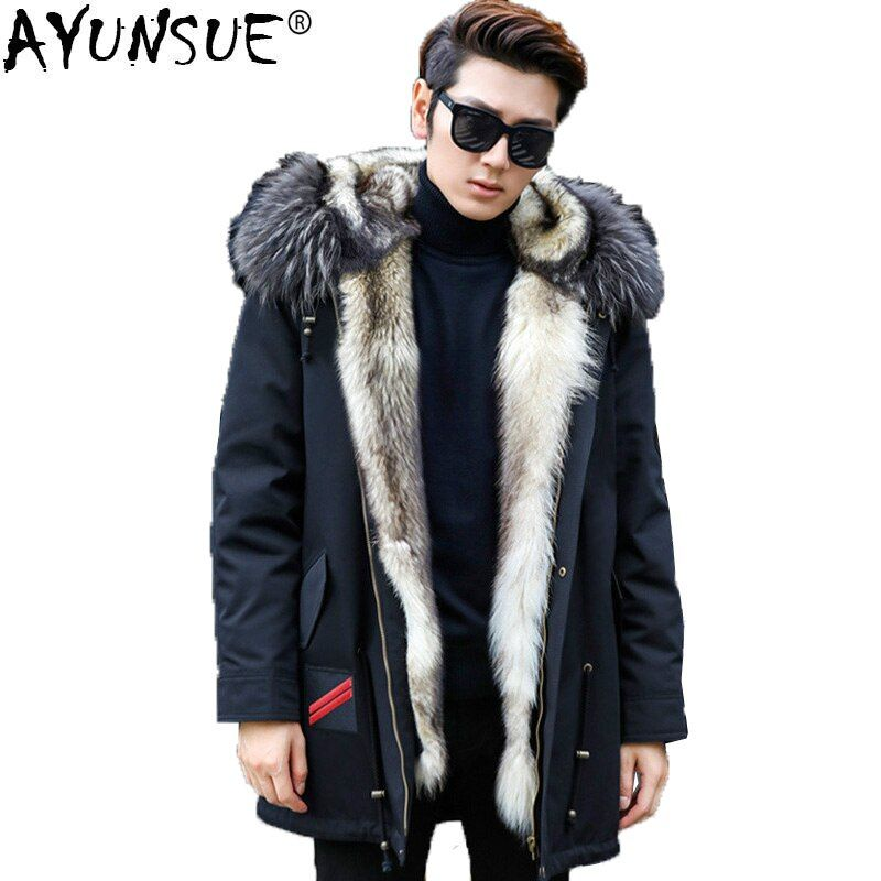 AYUNSUE Winter Jacket Real Wolf Fur Coat Men Parka Homme Racoon Fur Collar Luxury Parkas Plus Size Manteau Homme Hiver KJ1155